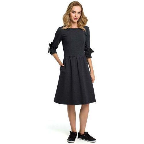 dc0d9b674c Grafitowa Klasyczna Rozkloszowana Sukienka z Lampasem