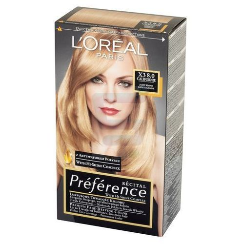 Loreal  paris recital preference farba do włosów californie jasny blond nr x3 8.0