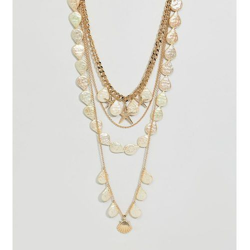 Asos design curve exclusive multirow necklace with shell and pearl charms in gold - gold marki Asos curve