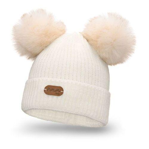 Zimowa czapka dziewczęca PaMaMi - Ecru