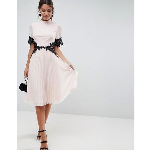 lace waist and cuff pleated midi dress - pink, Asos