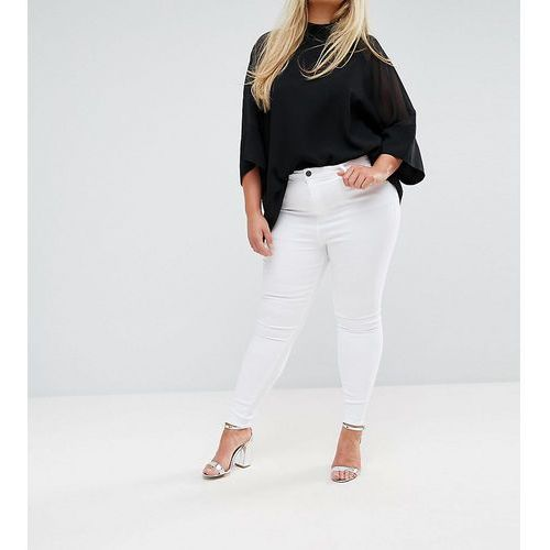 ASOS DESIGN Curve Ridley high waist skinny jeans in optic white - White, z