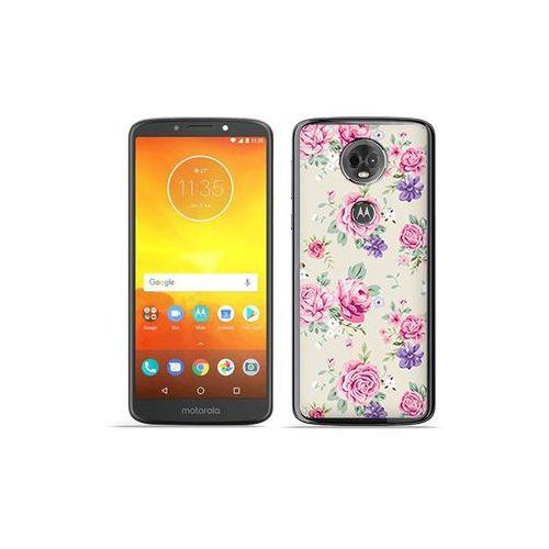 Motorola Moto E5 Plus - etui na telefon Fantastic Case - pastelowe różyczki, kolor różowy