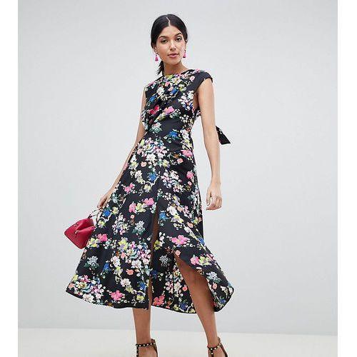 Asos design tall drape midi dress in floral print - multi, Asos tall