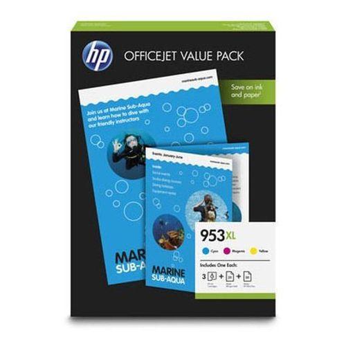 HP 3 x tusz CMY 953XL (F6U16AE + F6U17AE + F6U18AE), 1CC21AE + papier A4 75 ark., 1CC21AE