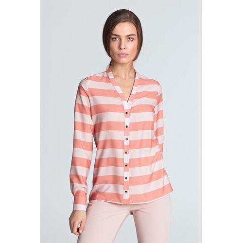 d35df8799f96d7 Nife Pomarańczowa koszulowa bluzka z długim rękawem zapinana na ozdobne  napki 128,90 zł Material: poliester 98% lycra 2%.Dostepne wymiary: S (36),  M (38), ...