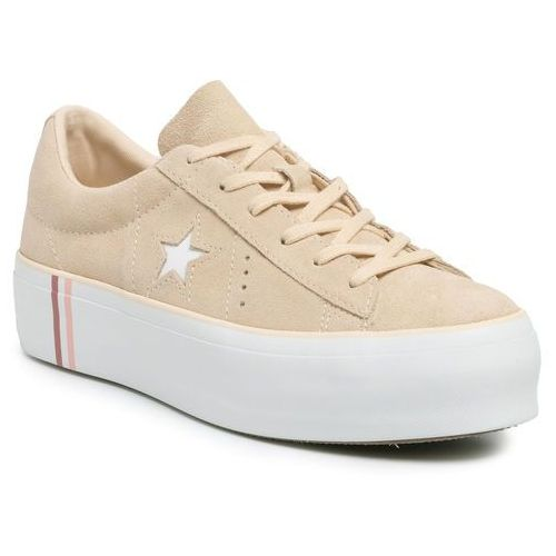 Sneakersy - one star platform ox 565377c light bisque/white/white, Converse