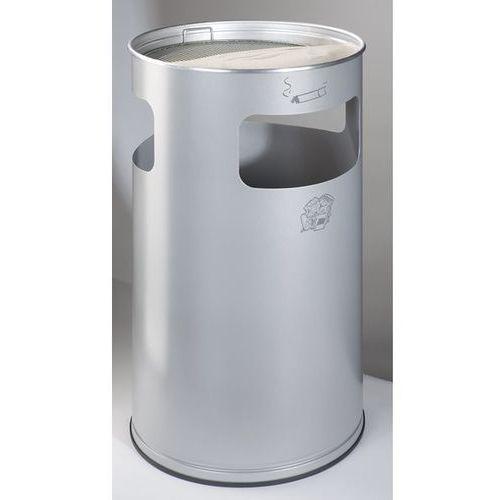Var fahrzeug- und apparatebau Popielniczka combi, okrągła, blacha stalowa, wys. 760 mm, Ø 420 mm, srebrna. okr
