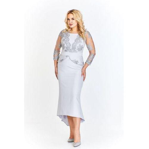 Wieczorowa sukienka z koronkową górą, rękawem 7/8 a'la baskinką i dołem a'la syrenka dłuższym z tyłu, 38-48