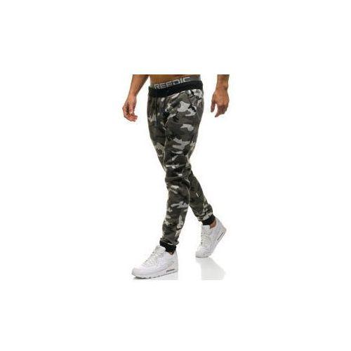 Spodnie męskie dresowe joggery moro-szare denley kk06, J.style