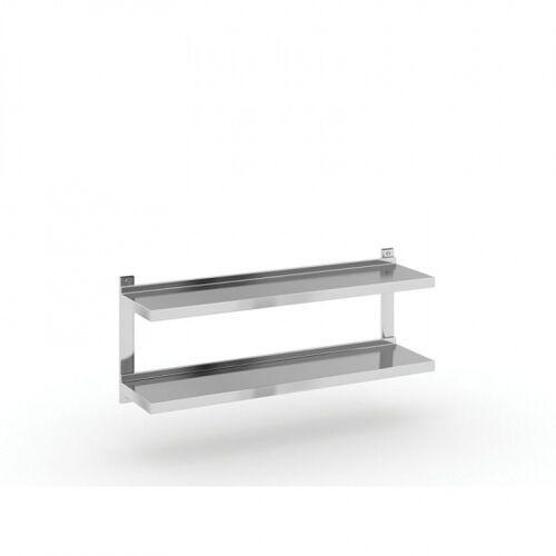Podwójna półka ze stali nierdzewnej wieszana, 1200x300 mm