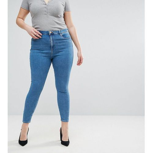ridley high waist skinny jeans in lily wash - blue, Asos curve
