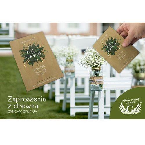 Zaproszenia ślubne z drewna - cyfrowy druk uv - zap023 marki Grawernia.pl - grawerowanie i wycinanie laserem