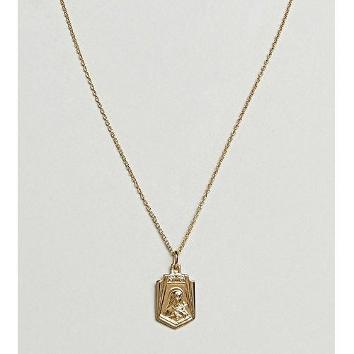 gold plated sterling silver vintage style icon pendant necklace - gold marki Asos