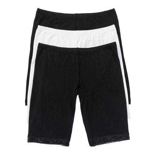 Majtki z nogawkami (3 pary) bonprix czarny + biel wełny, bawełna