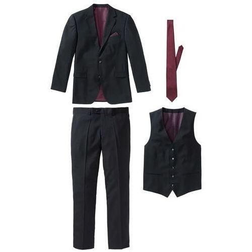 Garnitur 4-częściowy (marynarka, spodnie, kamizelka i krawat) czarno-bordowy, Bonprix