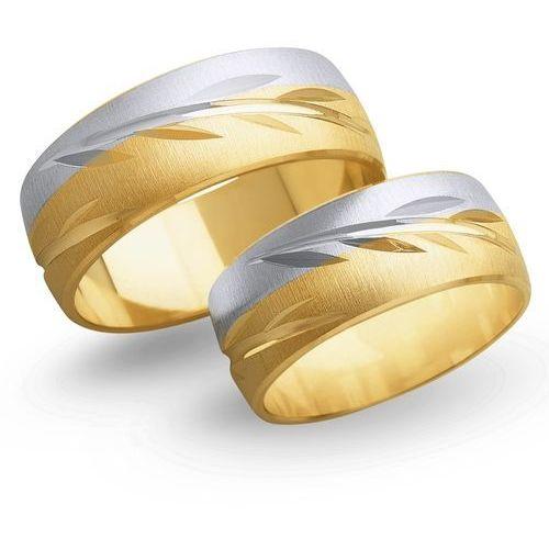 Obrączki z żółtego i białego złota 8mm - O2K/144 - produkt dostępny w Świat Złota