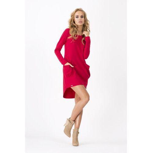 Czerwona Dresowa Asymetryczna Sukienka z dużymi kieszeniami, kolor czerwony