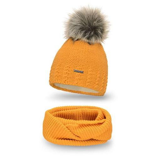 Komplet , czapka i komin - miodowy - miodowy marki Pamami