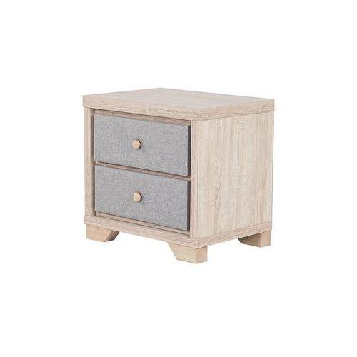 Beliani Szafka nocna jasny odcień drewna/szara 2 szuflady berck (4260624112619)
