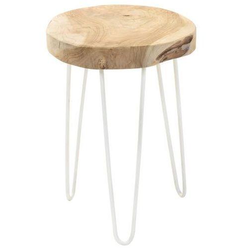 Stołek z naturalnego drewna tekowego, okrągły - taboret, podnóżek marki Home styling collection