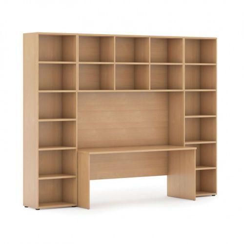 Biblioteka z wbudowanym biurkiem, 2950 x 700/400 x 2300 mm, buk