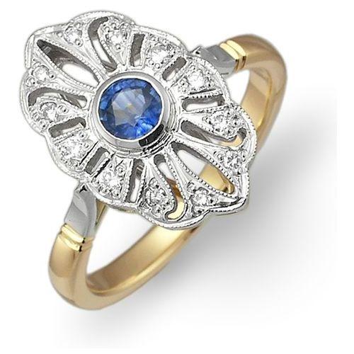 Pierścionek ze złota z szafirem i brylantami z kategorii pierścionki