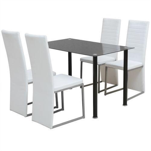 vidaXL Zestaw mebli do jadalni - 5 elementów Biały i Czarny - produkt z kategorii- Zestawy mebli kuchennych