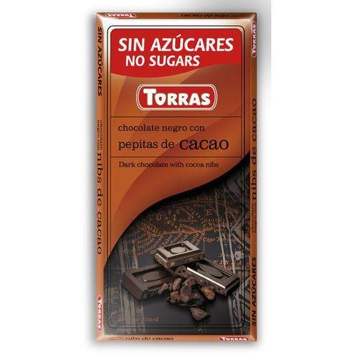 Torras Czekolada gorzka z ziarnami kakao, bez cukru, bezglutenowa 75g (8410342006004)