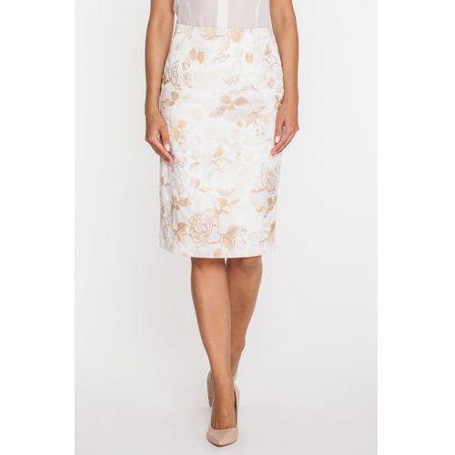 Ołówkowa spódnica w beżowe róże - Duet Woman