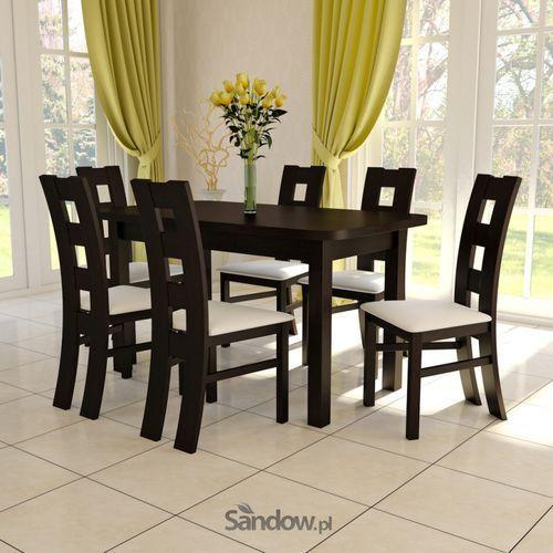 STÓŁ 80x140 do 180 z 6 drewnianymi krzesłami K-42 okazja PROMOCJA (stół do kuchni i jadalni)