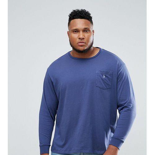 big & tall long sleeve pocket t-shirt with logo in blue - blue marki Polo ralph lauren