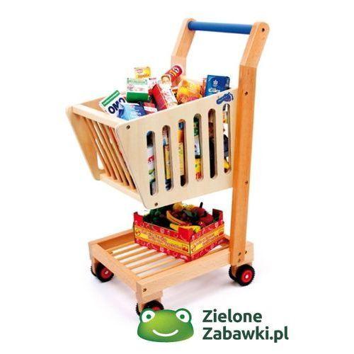 Drewniany wózek na zakupy, small foot design - zabawa w sklep