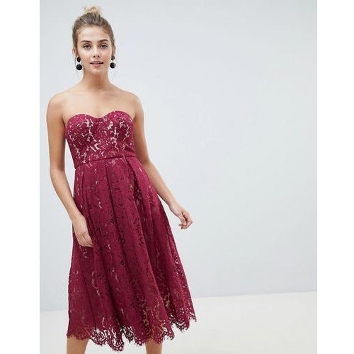 New Look lace bandeau midi dress - Red, kolor czerwony