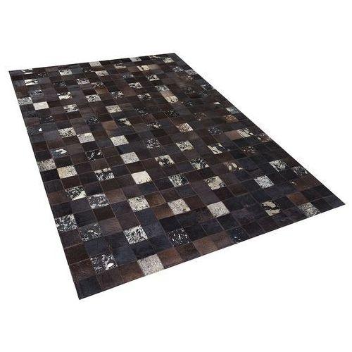 Beliani Dywan - brązowy - skóra - patchwork - 160x230 cm - bandirma