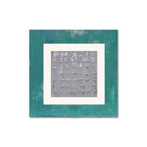 Geometria i srebro 2, nowoczesny obraz ręcznie malowany (obraz)