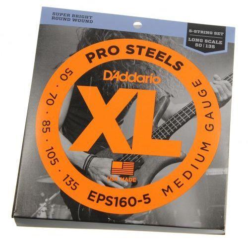 D′Addario EPS 160/5 Pro Steels struny do gitary basowej pięciostrunowej 50-135