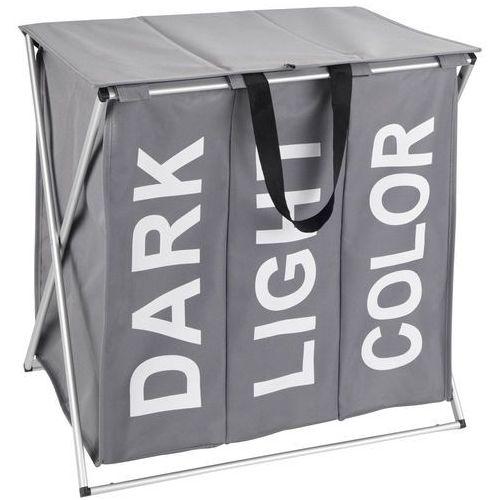 Praktyczny kosz na pranie Trio Top, kolor szary, pojemność 118 litrów, 3 komory na pranie, składany, marka WENKO