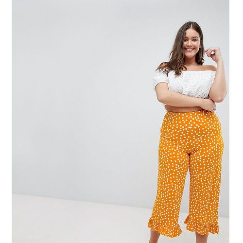 Asos curve Asos design curve trousers with fluted ruffle hem in spot print - orange