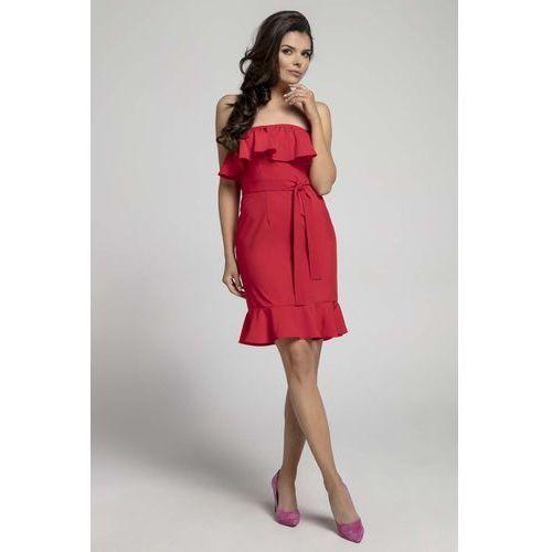 dd6fbf7af2 Nommo Czerwona koktajlowa sukienka typu hiszpanka z paskiem 99