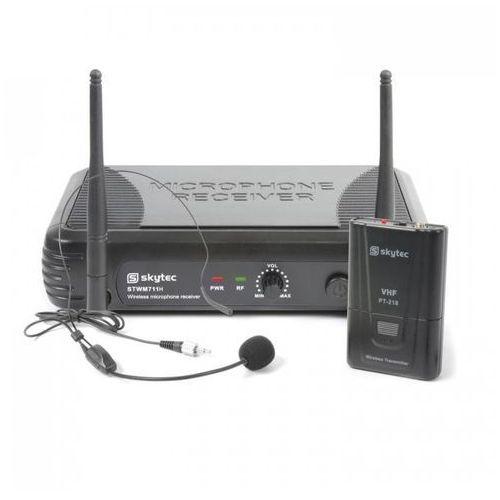 Skytec STWM711H Minizestaw mikrofon nagłowny VHF nadajnik i odbiornik czarny (8715693293593)