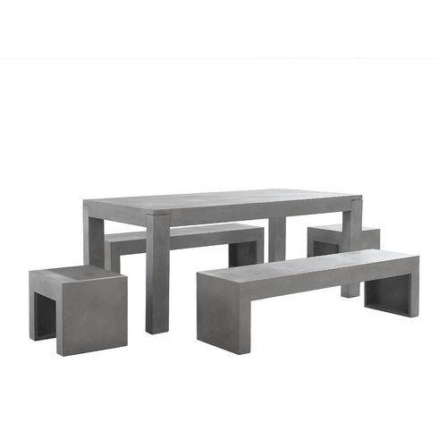 Zestaw mebli ogrodowych - Beton - Stoł 2 ławki 2 krzesła - TARANTO (7081458911929)