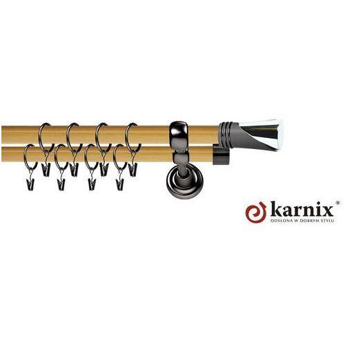 Karnisz Metalowy Prestige podwójny 25/19mm Loca Antracyt - pinia, Karnix