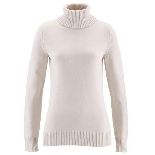 Bonprix Sweter z golfem biel wełny