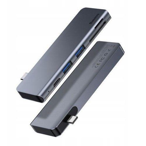 Baseus harmonica | adapter hub rozdzielacz type-c do 2x usb 3.0 + type-c pd + microsd / sd do macbook / szary