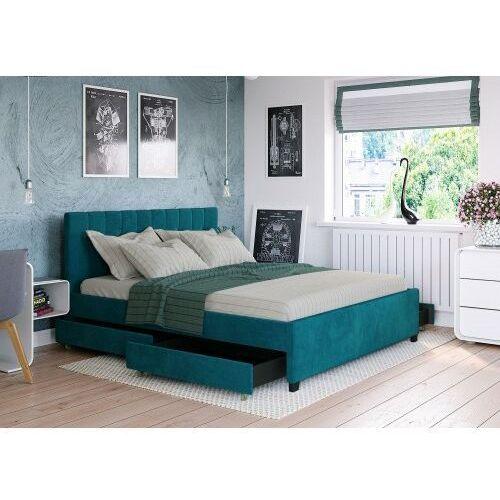 Big meble Łóżko 120x200 tapicerowane modena + 4 szuflady welur lazurowe