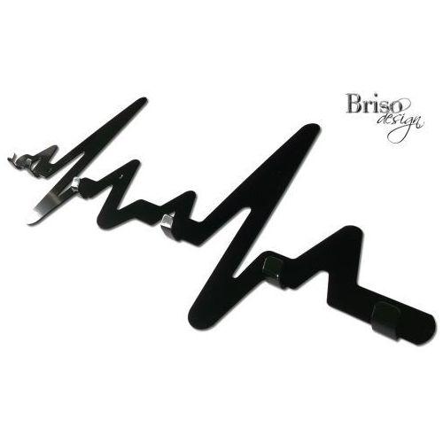 Wieszak na ubrania EKG z haczykami, czarny połysk by Briso-design
