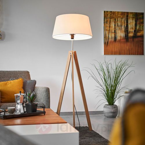 Tekstylna lampa stojąca thea z dębową podstawą marki Lampenwelt