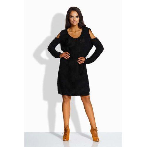 Czarna Swetrowa Sukienka z Wyciętymi Ramionami, kolor czarny