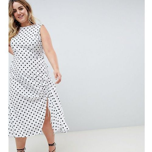 ASOS DESIGN Curve sleeveless maxi dress in polka dot - Multi